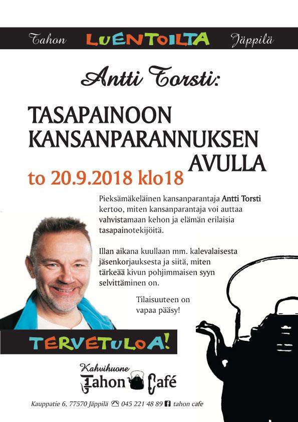 Luentoilta Antti Torsti: Tasapainoon kansanparannuksen avulla